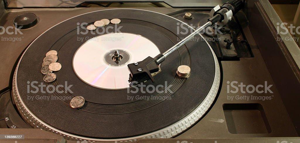 LP Vinyl Player, CD, Coins royalty-free stock photo