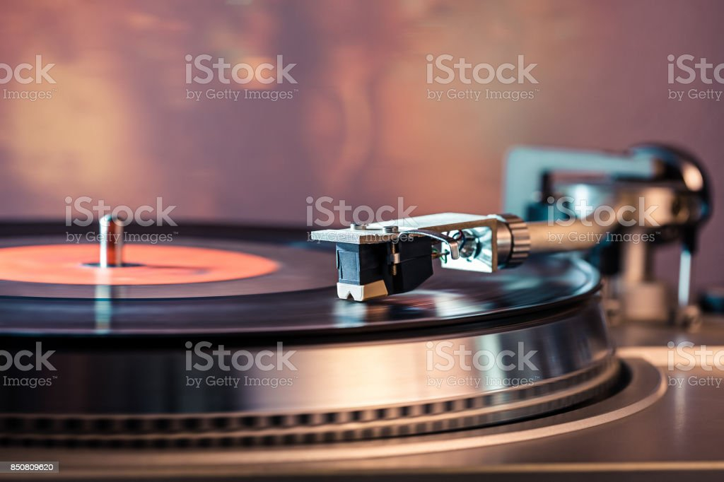 Vinyl player. Vinyl plate and needle close-up. stock photo