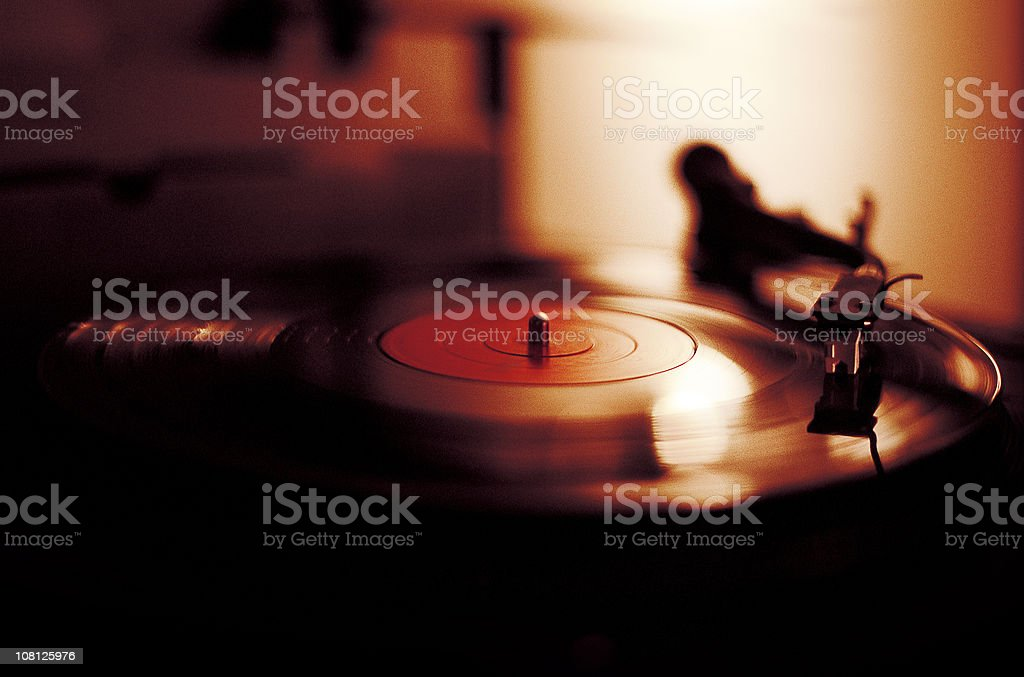 Vinyl Playing on Record Player royalty-free stock photo