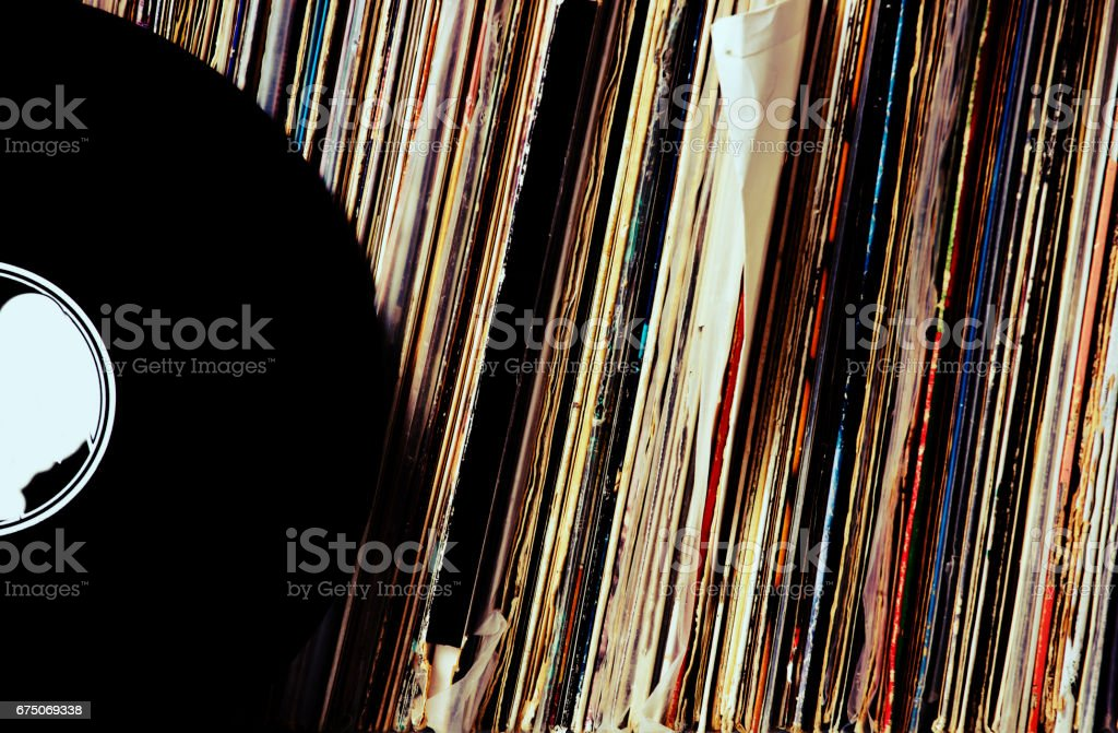 Vinyl record collection stock photo