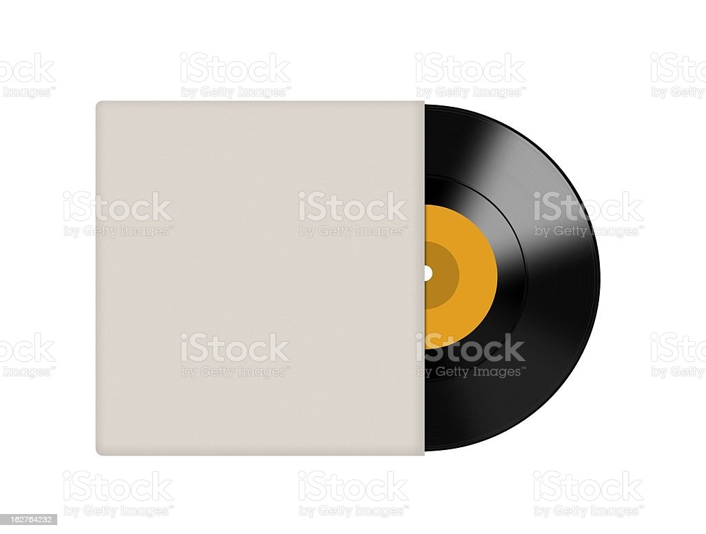 Vinyl record coming out of cover stock photo
