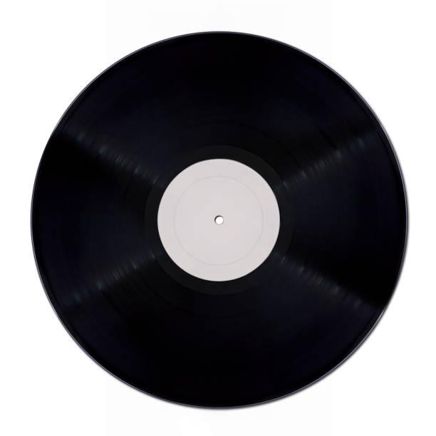 Vinyl record mockup on white background stock photo