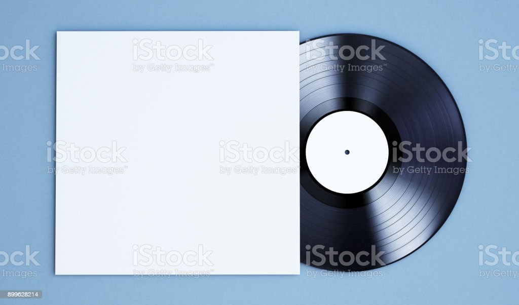 vinyl record mockup stock photo