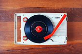 istock Vinyl record player Vintage retro object on wooden background 482752922
