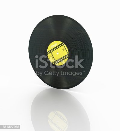 istock vinyl record retro sound isolated on white background with reflection 3d 654327966