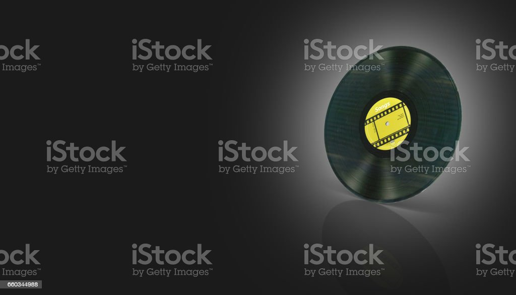 vinyl record retro sound on black gradient background with reflection 3d stock photo