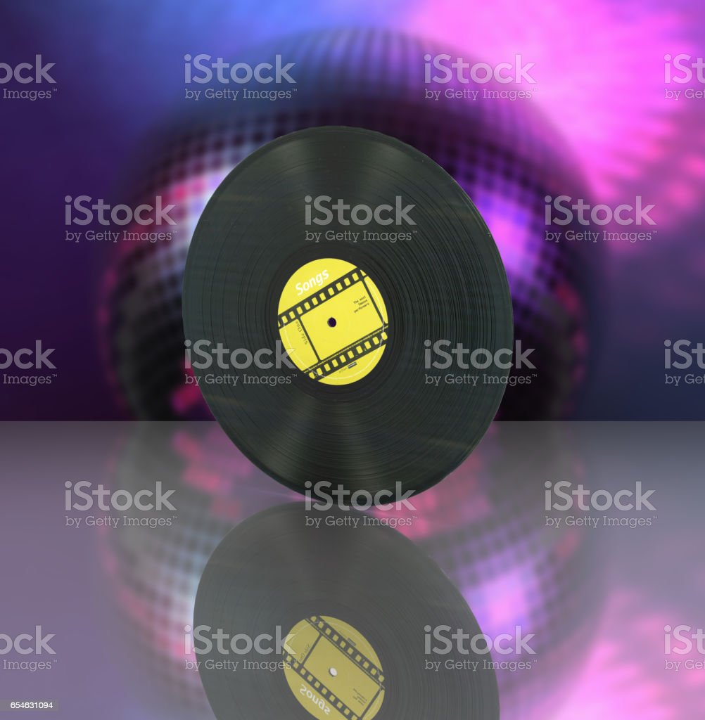 vinyl record retro sound on disco ball background with reflection 3d stock photo