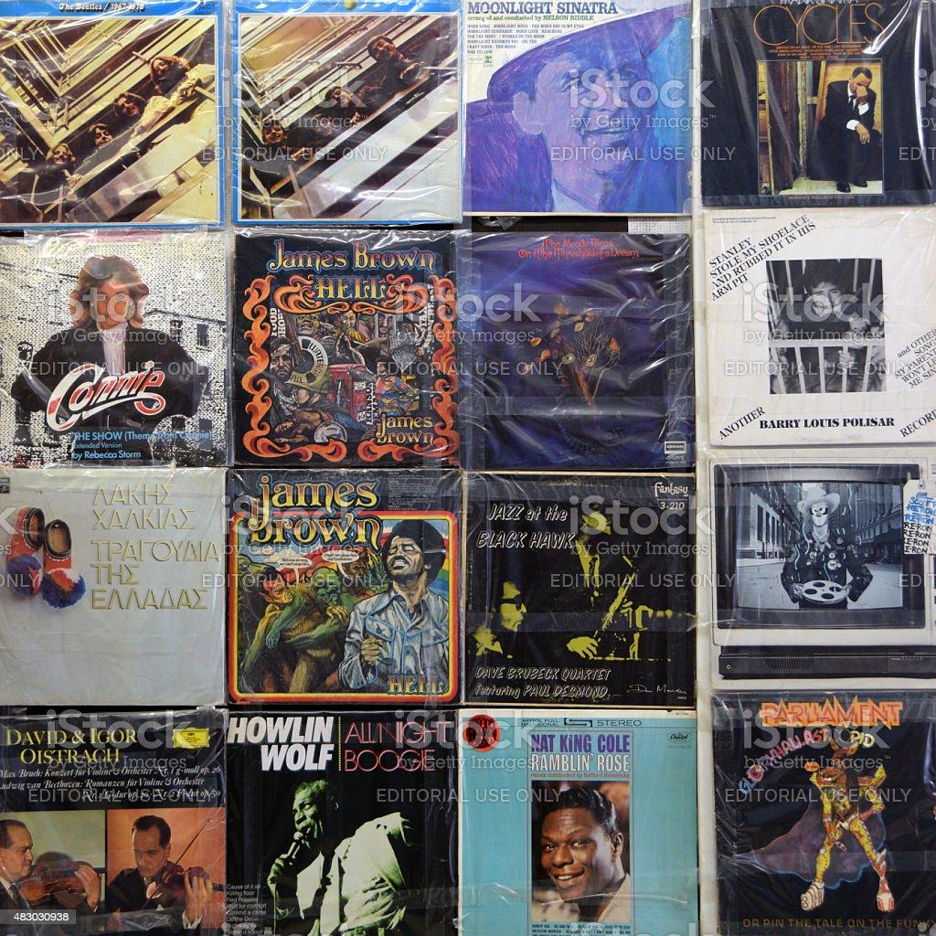vinyl records album covers stock photo