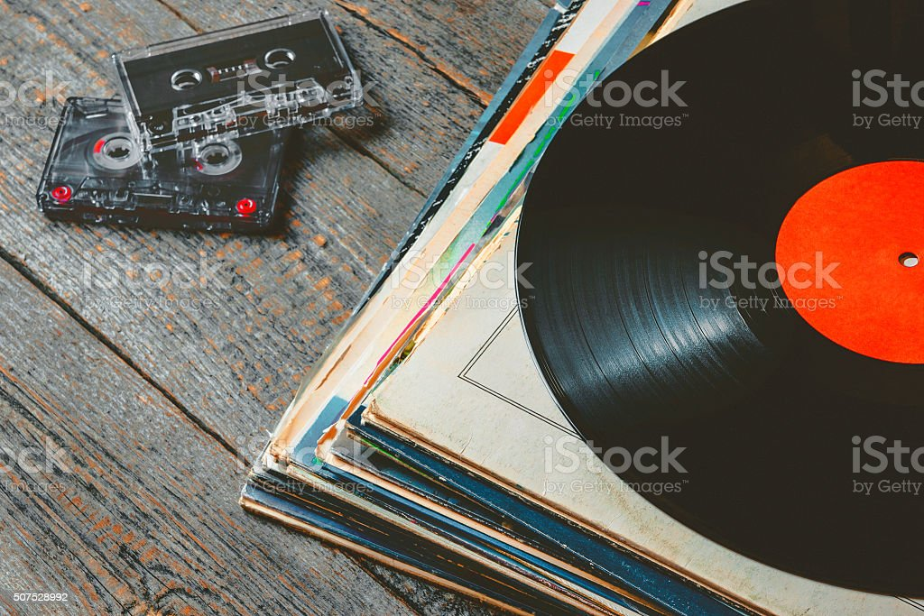 Vinyl records and cassettes stock photo