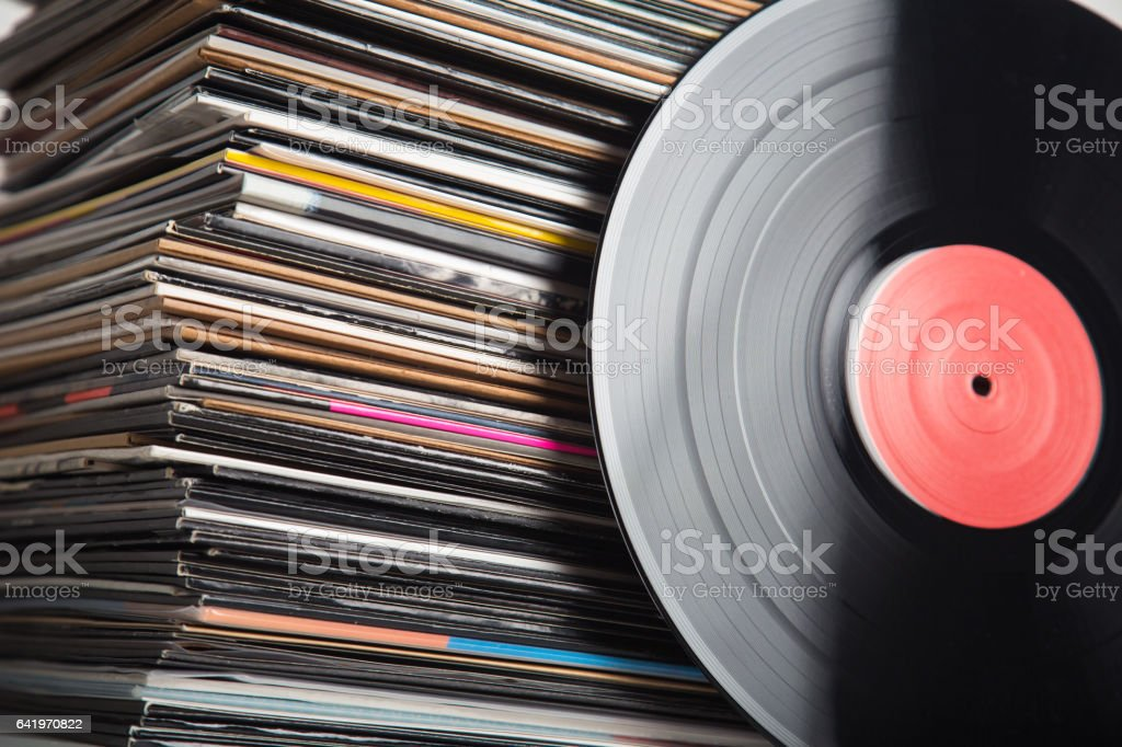 Vinyl records closeup stock photo
