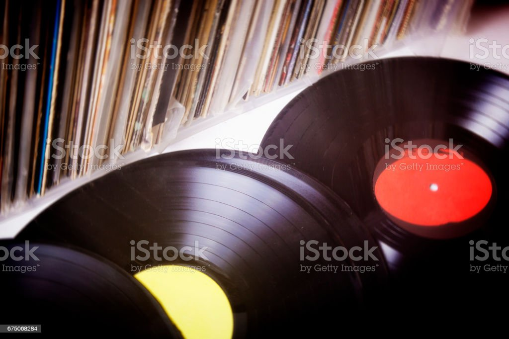 Vinyl records gathering dust stock photo