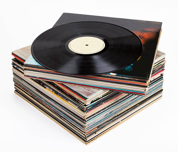 vinyl records, isolated on white - records stock photos and pictures