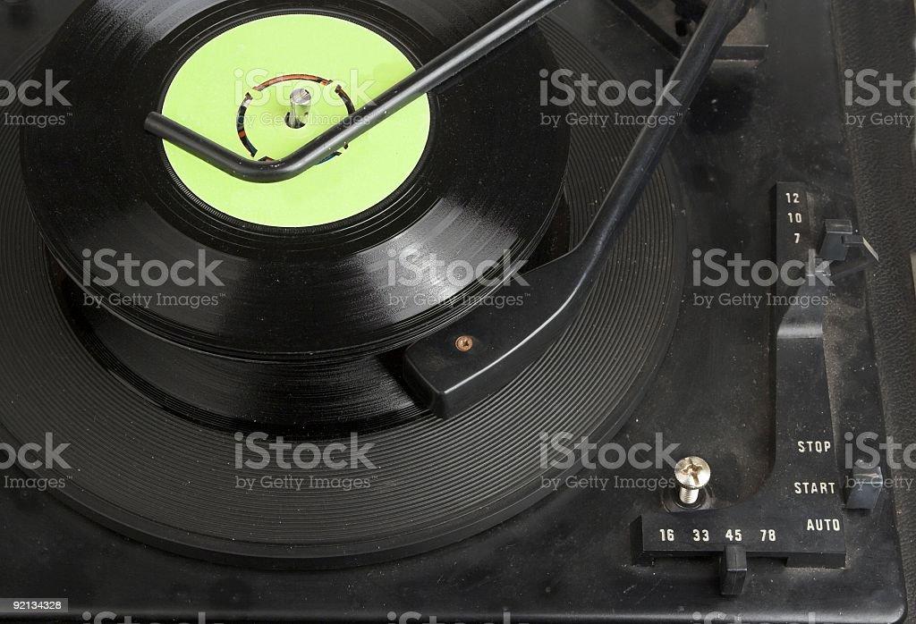 Vinyl Records On Autochanger record Deck stock photo