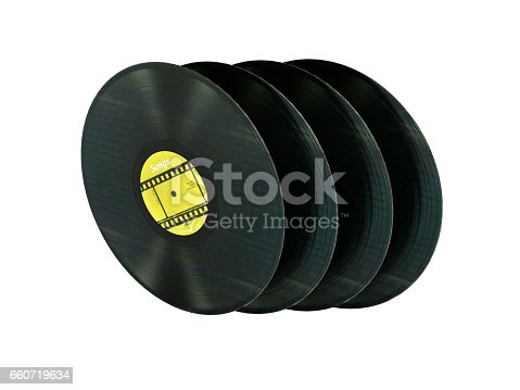 istock vinyl records retro sound without shadow on white background with reflection 3d 660719634