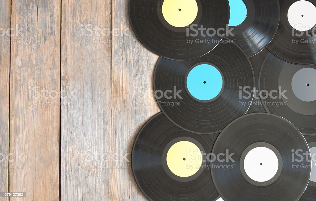 Vinyl records with space stock photo