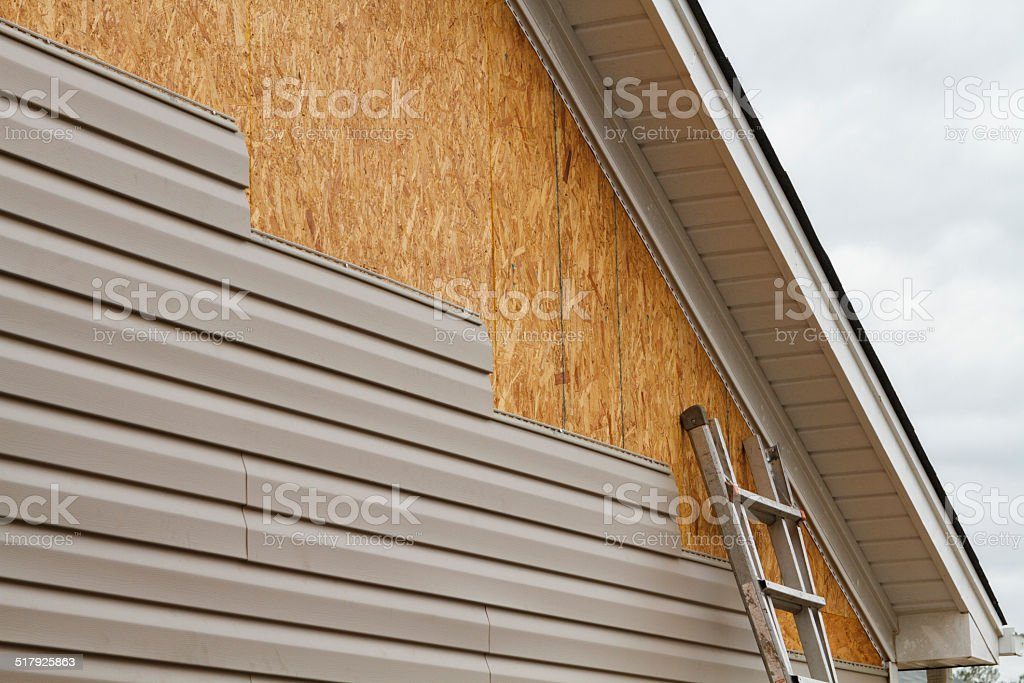Vinyl Siding Installation On A House In The South stock photo