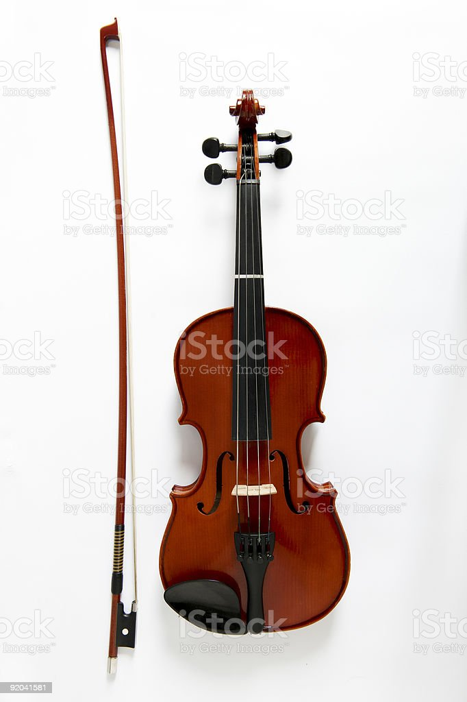 Viola and bow on white background - Royalty-free Acoustic Guitar Stock Photo