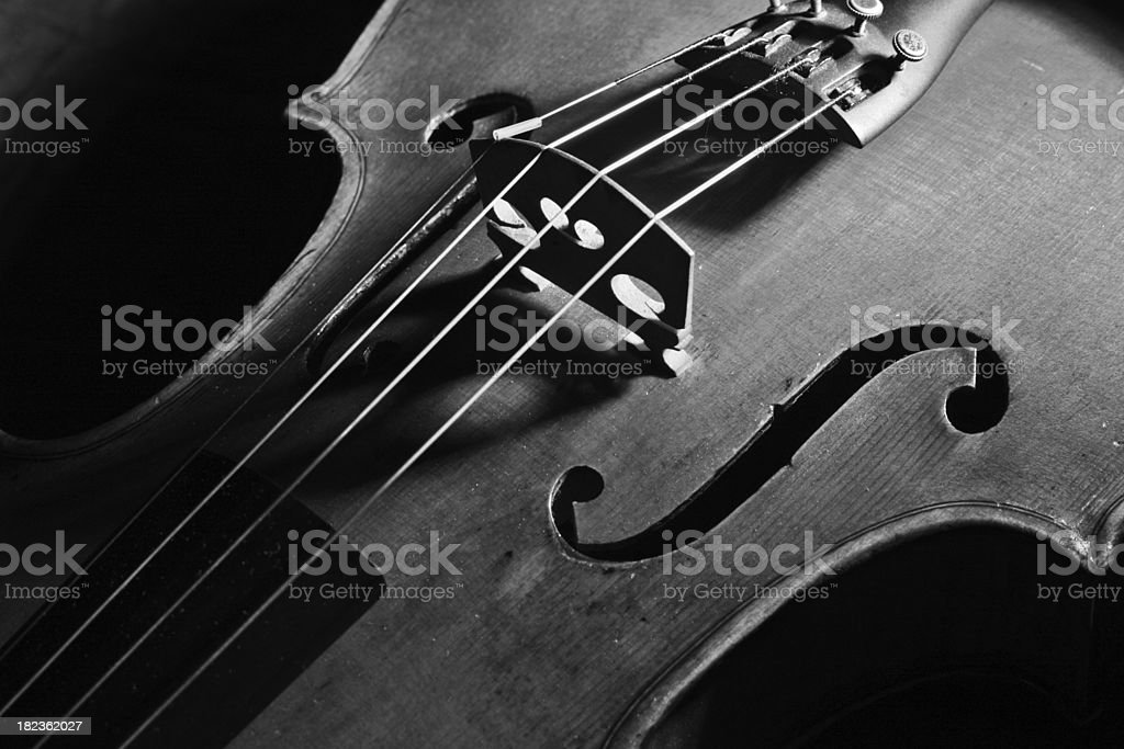 viola detail  f-hole and strings shadow stock photo