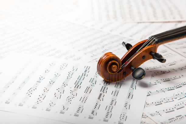 Viola on the sheets of music stock photo