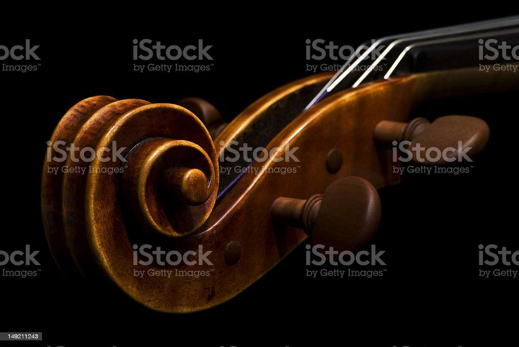 Viola or violin scroll stock photo