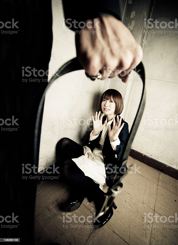 Violence on Woman royalty-free stock photo