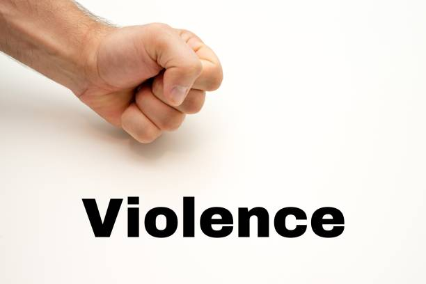 Violence - Protests - Image, Illustration with words related to the topic Protests stock photo