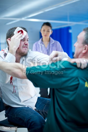 young drunk man gets shirty with an ambulanceman at casualty