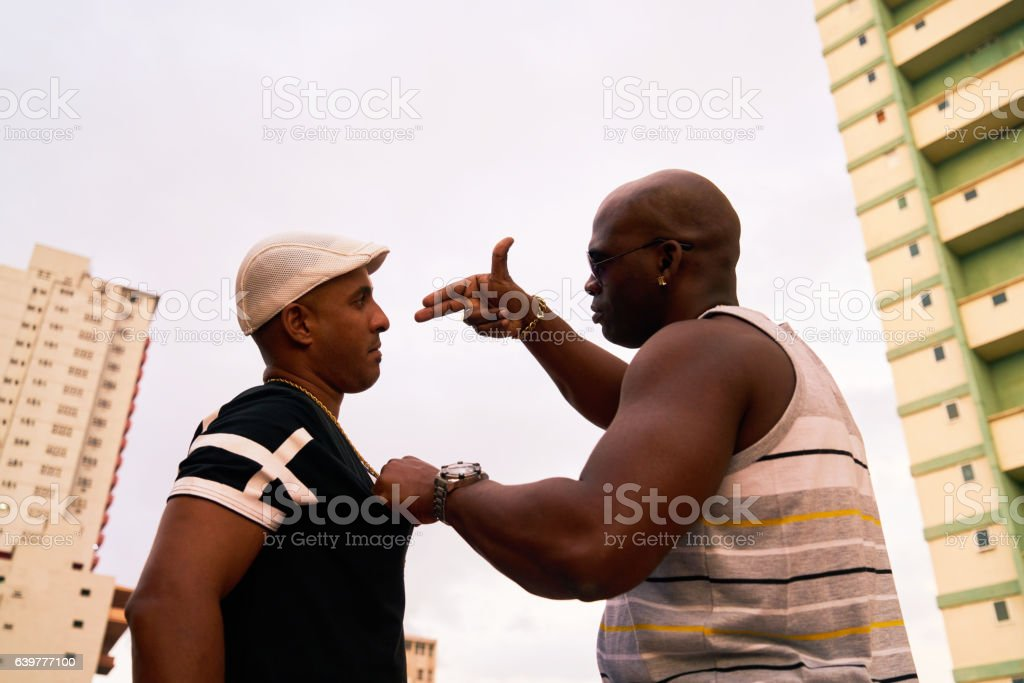 Violent People Arguing And Fighting For Drugs Crime And Violence stock photo