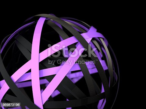 istock Violet and black rings in the abstract sphere 959873196