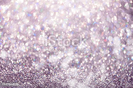881350776 istock photo Violet and purple abstract bokeh lights. Shiny glitter background with copy space. New year and Christmas concept. Sparkling greeting card 1147544520