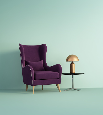 Rendering of a violet armchair over pale green wall