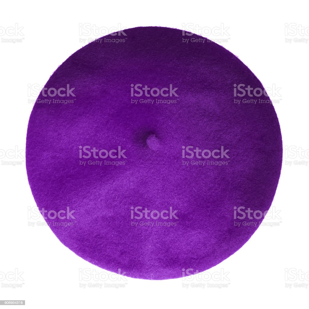 0063c01497e Violet beret French hat top view isolated on white royalty-free stock photo