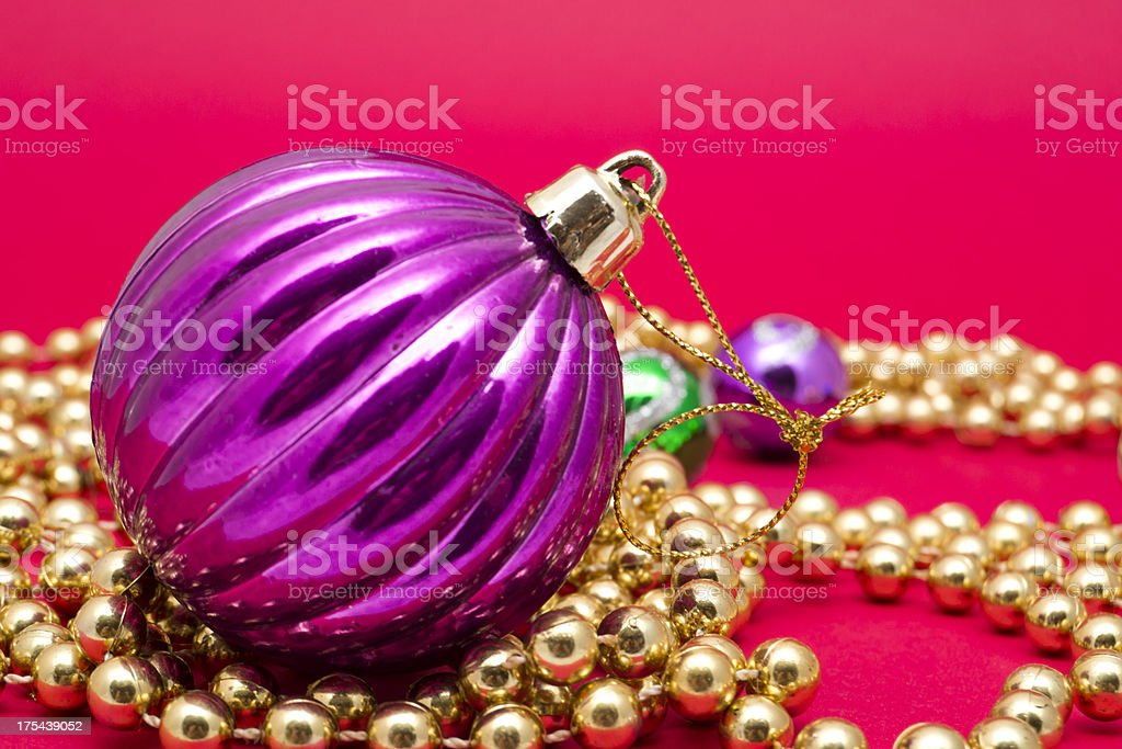 Violet Christmas Ball with Decorative Ornaments royalty-free stock photo