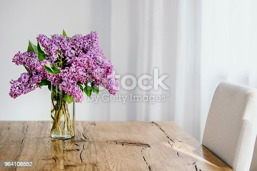 Violet coloured lilac twigs in a transparent glass vase on wooden rustic table. White Background, copy space.