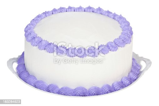 Homemade birthday or party cake frosted with white icing and decorated with Violet details. The top of the cake is plain white so you can personalize it.