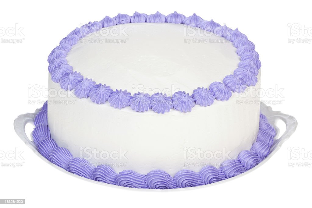 Violet decorated party cake to personalize stock photo