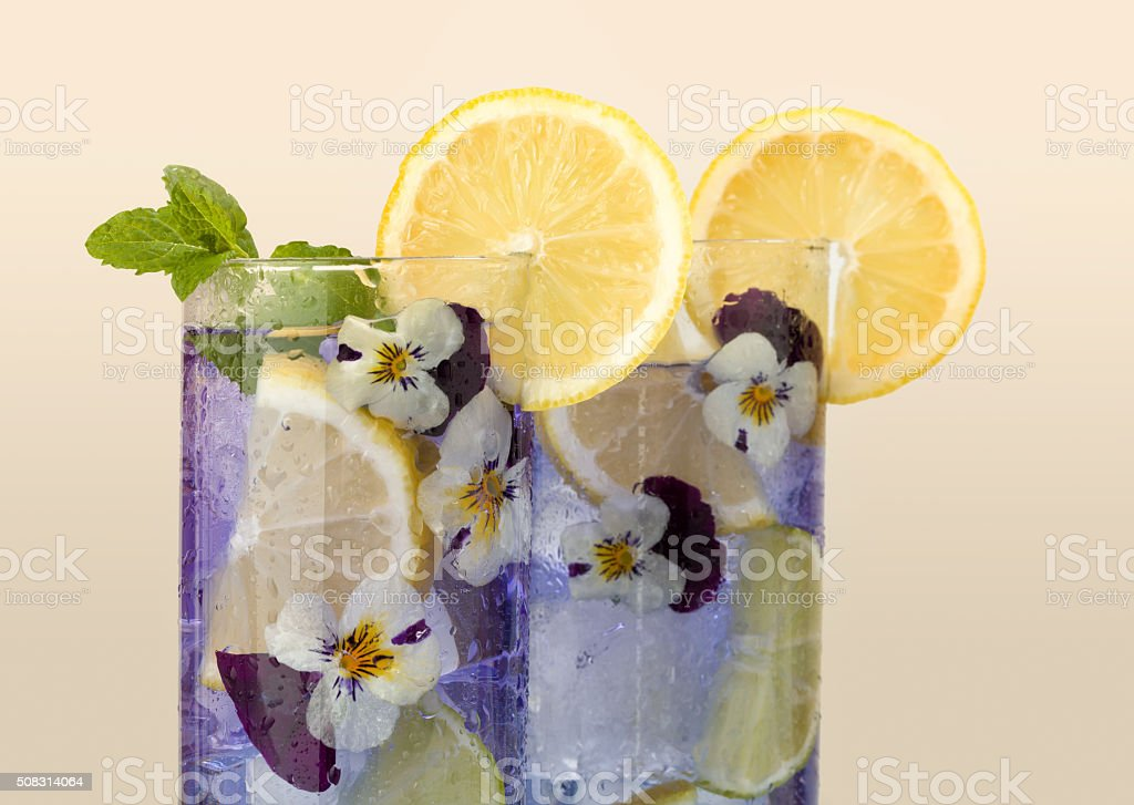 Violet drink with edible flowers stock photo