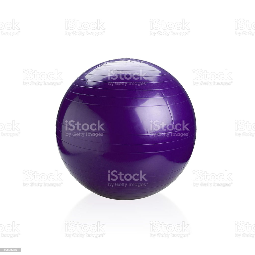 Violet gyms ball or yoga ball isolated stock photo