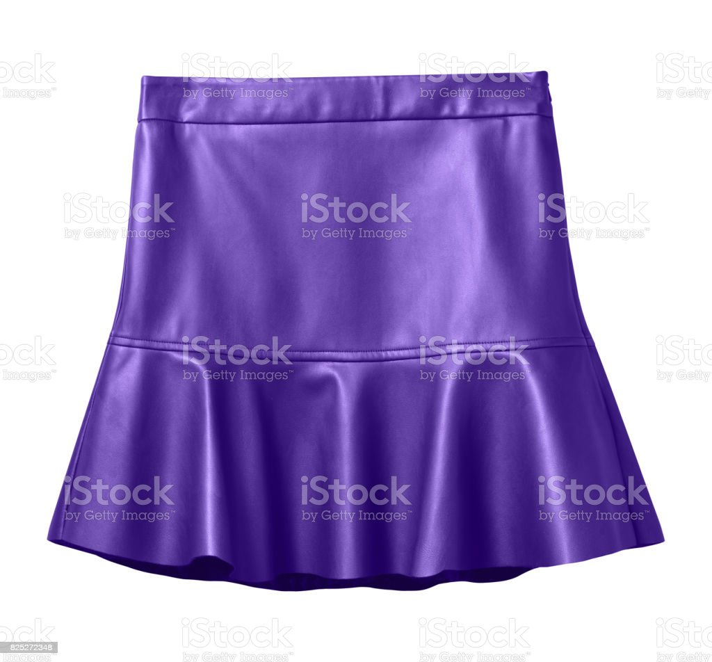 Violet leather skirt with flounce isolated on white stock photo