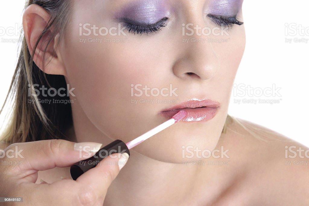 Violet look-step4-lip gloss royalty-free stock photo