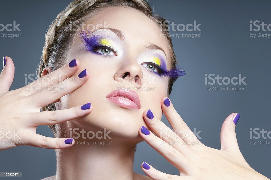 Violet makeup and manicure royalty-free stock photo