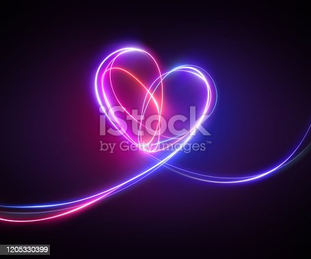 violet pink neon light drawing. Abstract heart doodle isolated on black background. Glowing single line art. Modern minimal concept. Festive illustration for Valentine day. Copy space