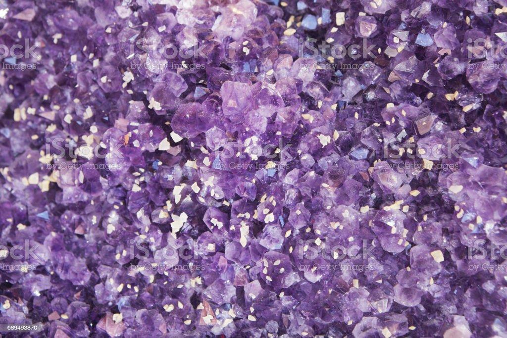 Violet Purple Amethyst Quartz Crystal Geode stock photo