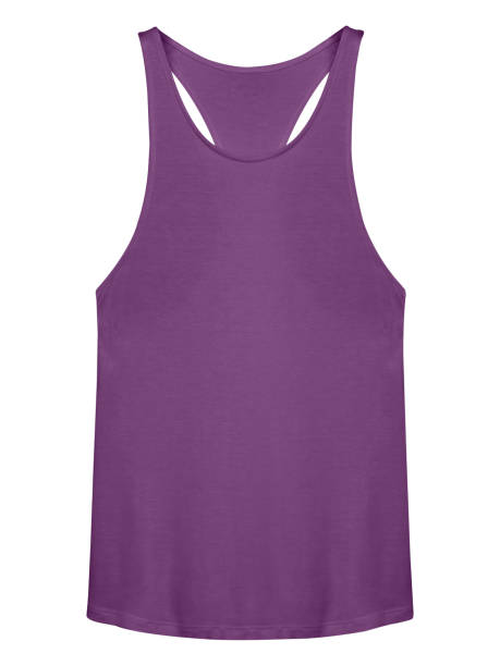 Violet sleeveless t-shirt with copy space isolated on white stock photo