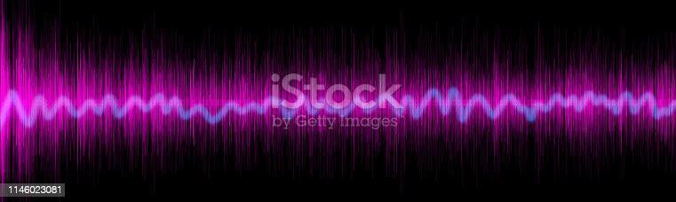 Violet sound equalizer wafe concept on black backround
