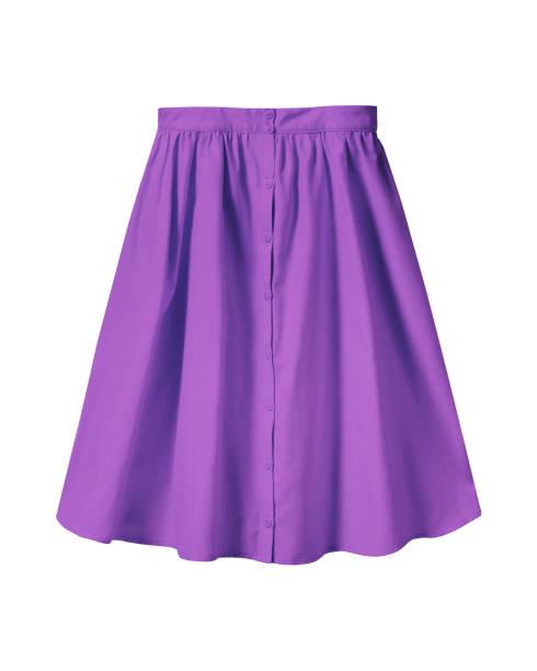 violet summer skirt with buttons isolated on white - spódnica zdjęcia i obrazy z banku zdjęć