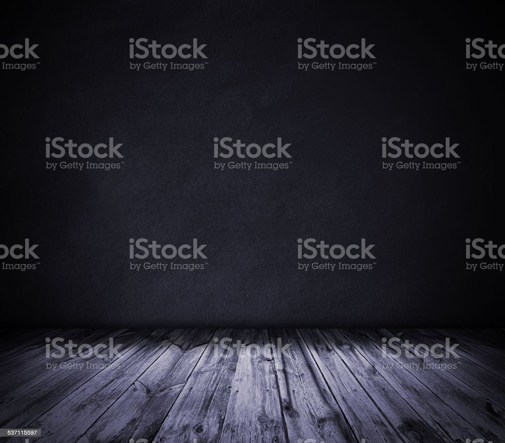 Violet wall and wooden floor interior background stock photo