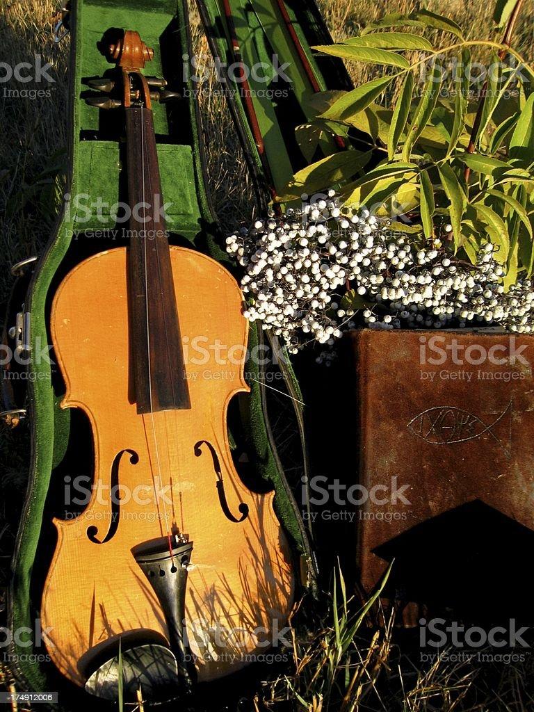 Violin and Bible royalty-free stock photo