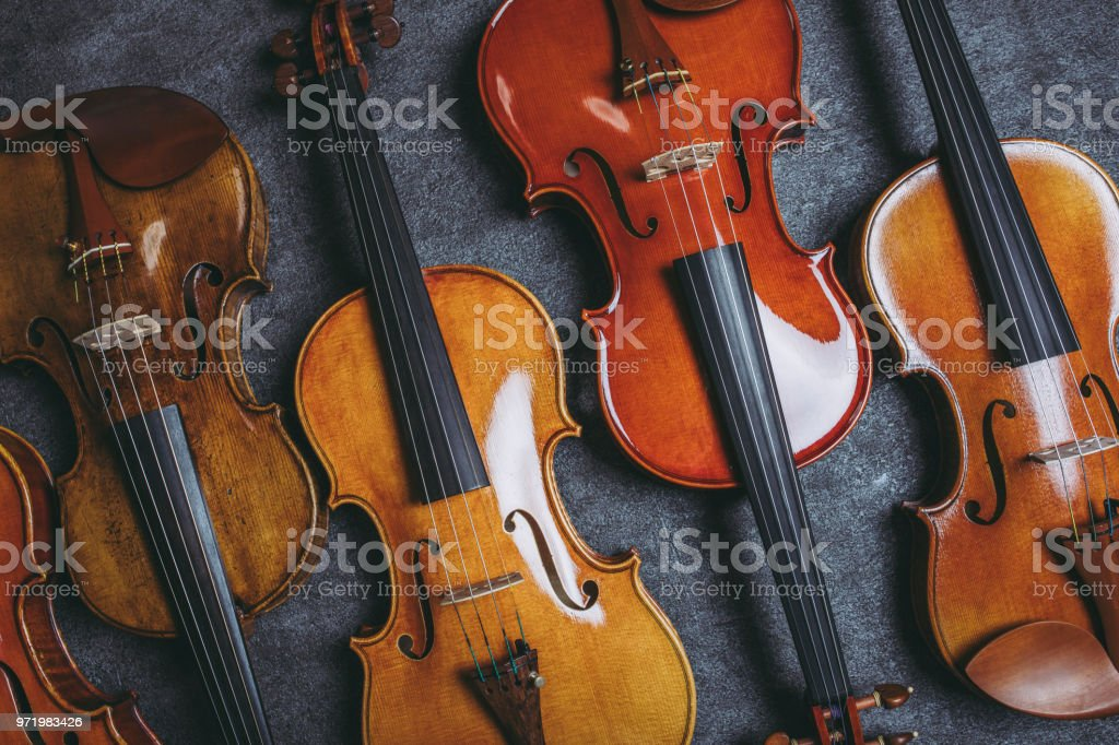 Violin and black background stock photo
