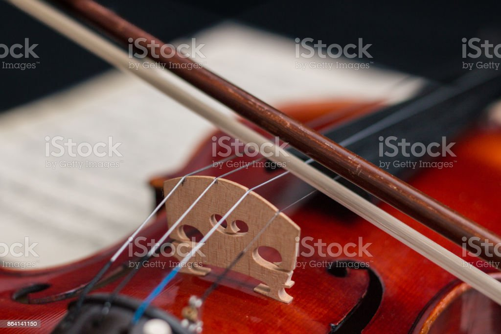 Violin and bow on notes royalty-free stock photo